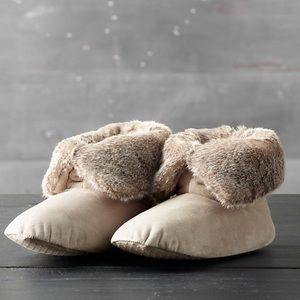 Restoration Hardware Luxe faux fur slipper booties